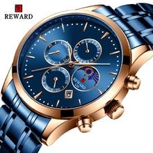 купить REWARD Men Watch Fashion Blue Quartz Clock Mens Watches Chronograph Full Steel Business Waterproof Wrist Watch erkek kol saati недорого
