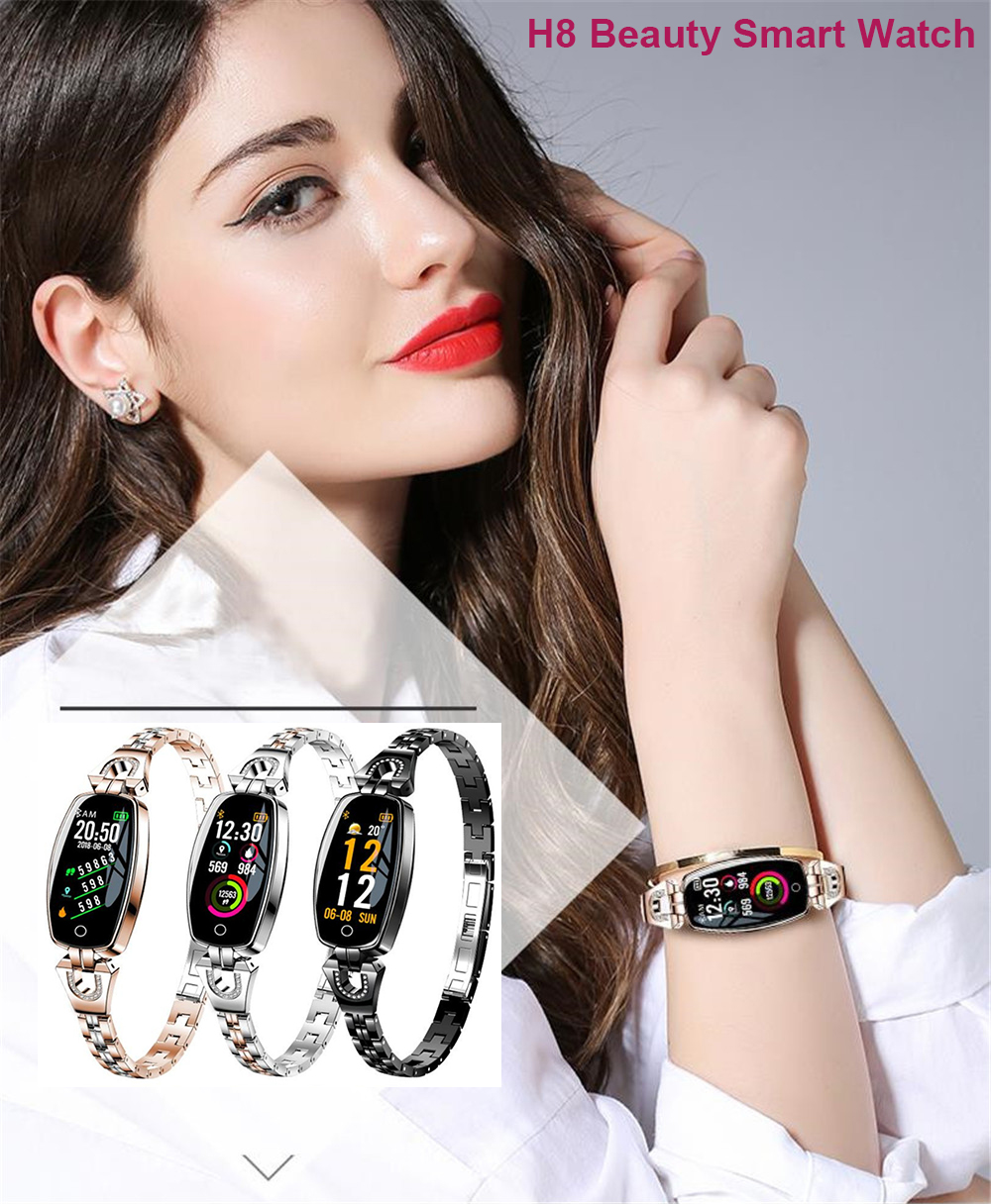 2019 H8 Women Lady Fashion Fitness Smart Band Bracelet Touch Screen Blood Pressure Heart Rate Sleep Monitor for Android IOS