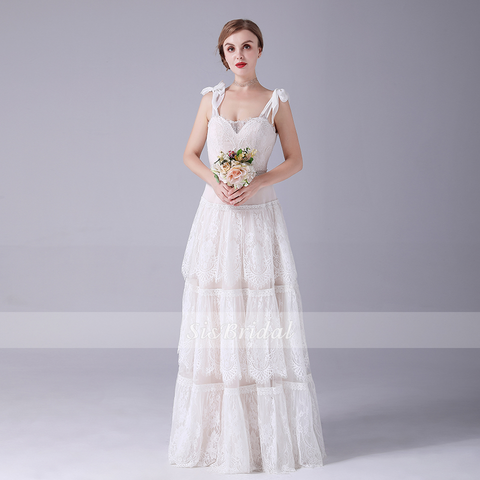 A-line V-neck Floor-length Sleeveless Lace Wedding Dress For Wedding Party 2020