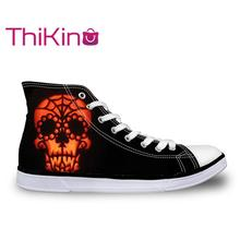 Thikin  High Top Canvas Shoes for Men Halloween Skull Sneakers Teens Lace-up Flat shoes male Breathable vulcanized