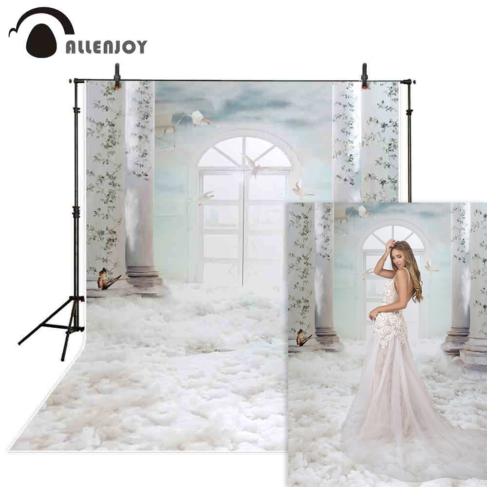 Allenjoy casamento photocall boda fotografia backdrops branco pomba céu nuvens fundo interior photobooth photo studio prop