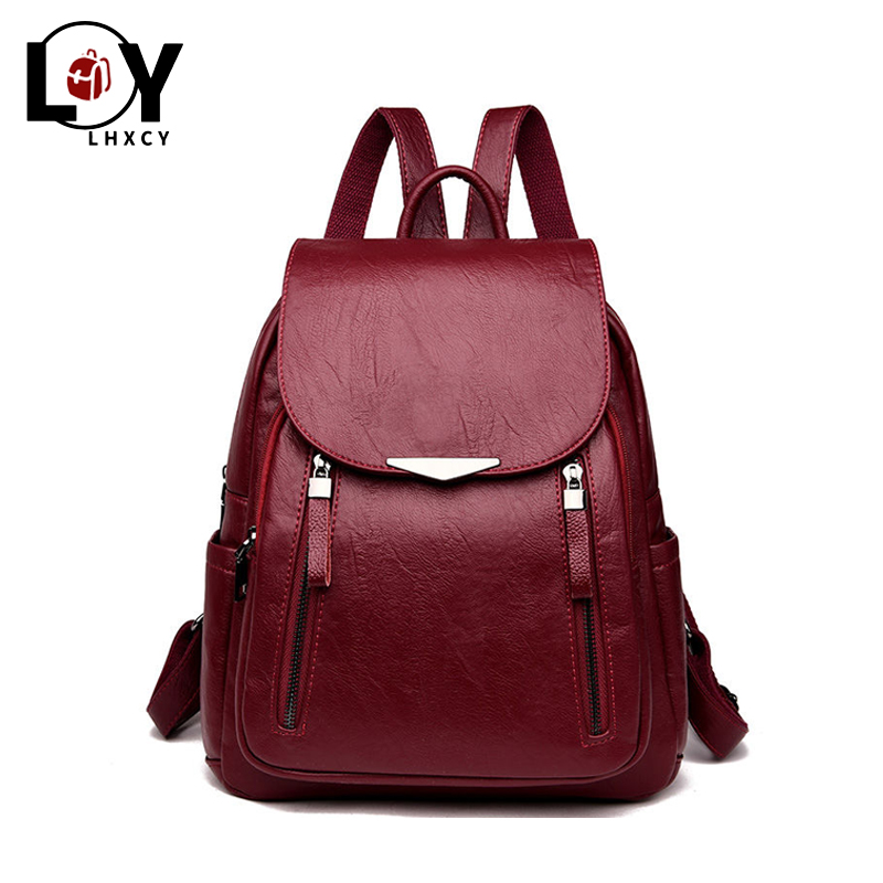 Casual PU Backpack Female Brand Leather Women's Backpack Large Capacity School Bag For Girls Double Zipper Fashion Shoulder Bags