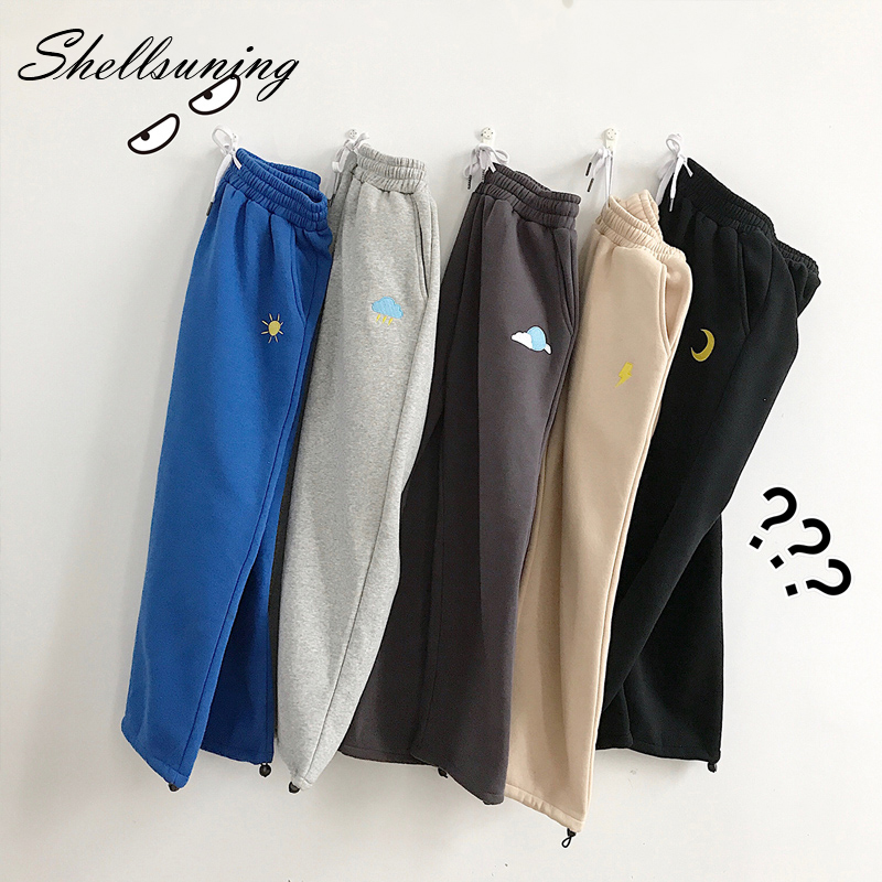 Shellsuning 5 Colors Embiodery Pants Women Drawstring Wide Legs Man Pants Weather Streetwear Loose Casual Female Trousers
