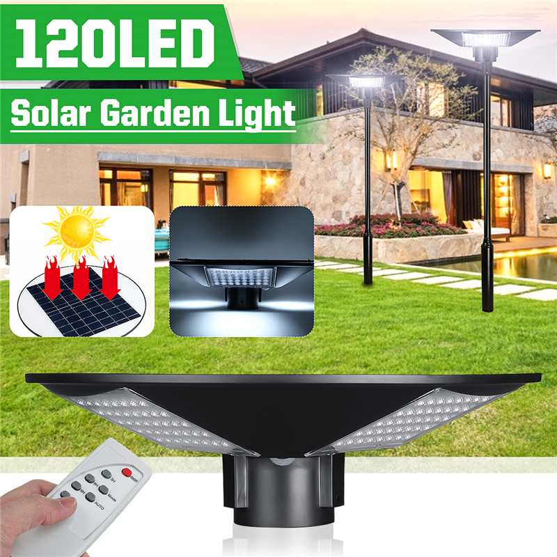 120W Led Solar Post Top Pole Lights With Remote Outdoor Circular 12000LM IP55 Waterproof 6000K Daylight Garden Post Top Lamp