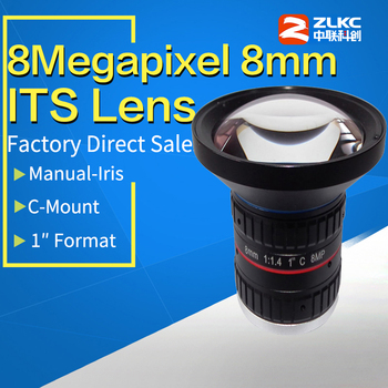 8 0Mega Pixel C Mount 8mm 1 #8222 F1 4 jego korekcja obiektywy o stałej ogniskowej kamera przemysłowa ręczne obiektywy kamery przemysłowej Iris tanie i dobre opinie ZLKC KM0814MP8 Instrukcja 8 0mm 8 Megapixel Manual Iris lens F1 4-C