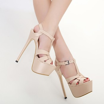 Women Heeled Sandals Bandage Rhinestone Ankle Strap Pumps Super High Heels 8 CM Square Heels Lady Shoes zapatos de mujer#N3