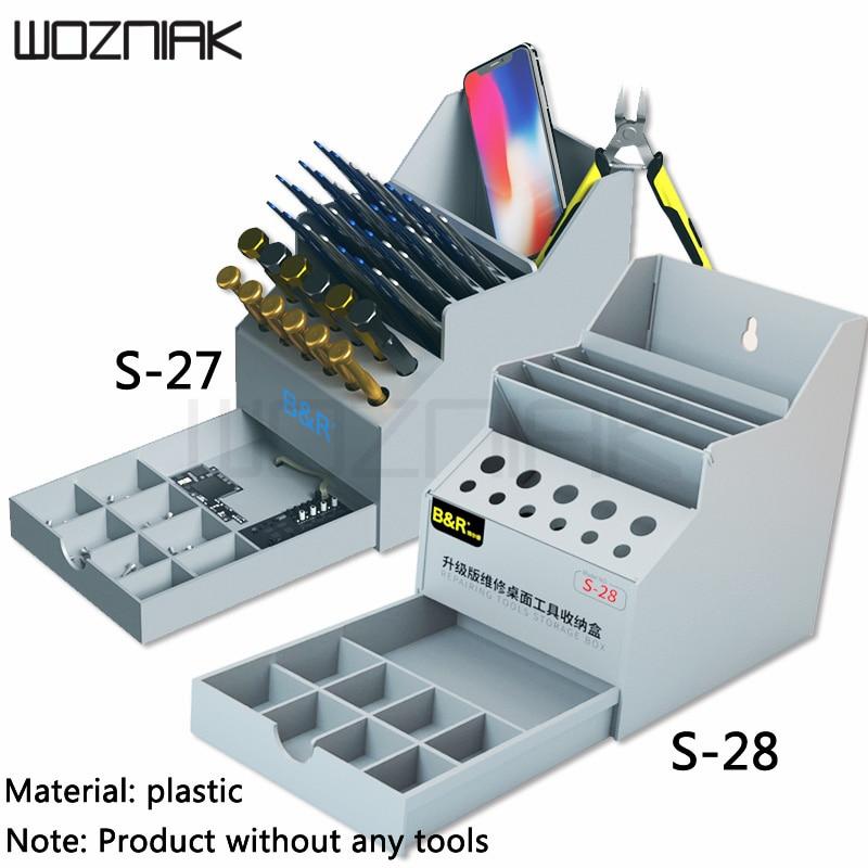 Plastic Storage Box Tweezers Screwdriver Business Card Storage Box For Mobile Phone Repair Desk Desktop Finishing Storage Tools