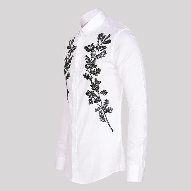 สไตล์เกาหลีต้นไม้เย็บปักถักร้อยแขนยาวสีขาวเสื้อฤดูใบไม้ร่วงฤดูใบไม้ผลิ Slim Fit ธุรกิจงานแต่งงาน Turn Down Collar เสื้อ-ใน เสื้อเชิ้ตออกงาน จาก เสื้อผ้าผู้ชาย บน   2