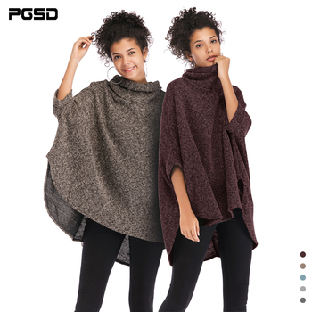 PGSD Autumn winter Irregular knitted women sweater Cloak Pullover loose Turtleneck Bat Sleeve Warm soft Casual clothes female pgsd autumn winter women clothes simple solid lace stitching short hoodie bat sleeve loose sweatshirt pullover casual top female