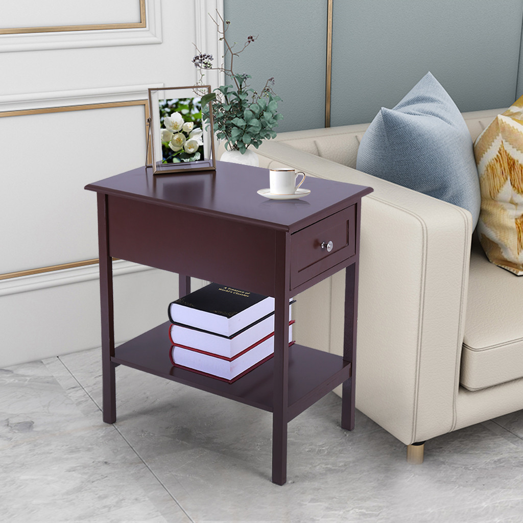 Narrow Sided Table Bedside Table With Sliding Drawer Locker Brown