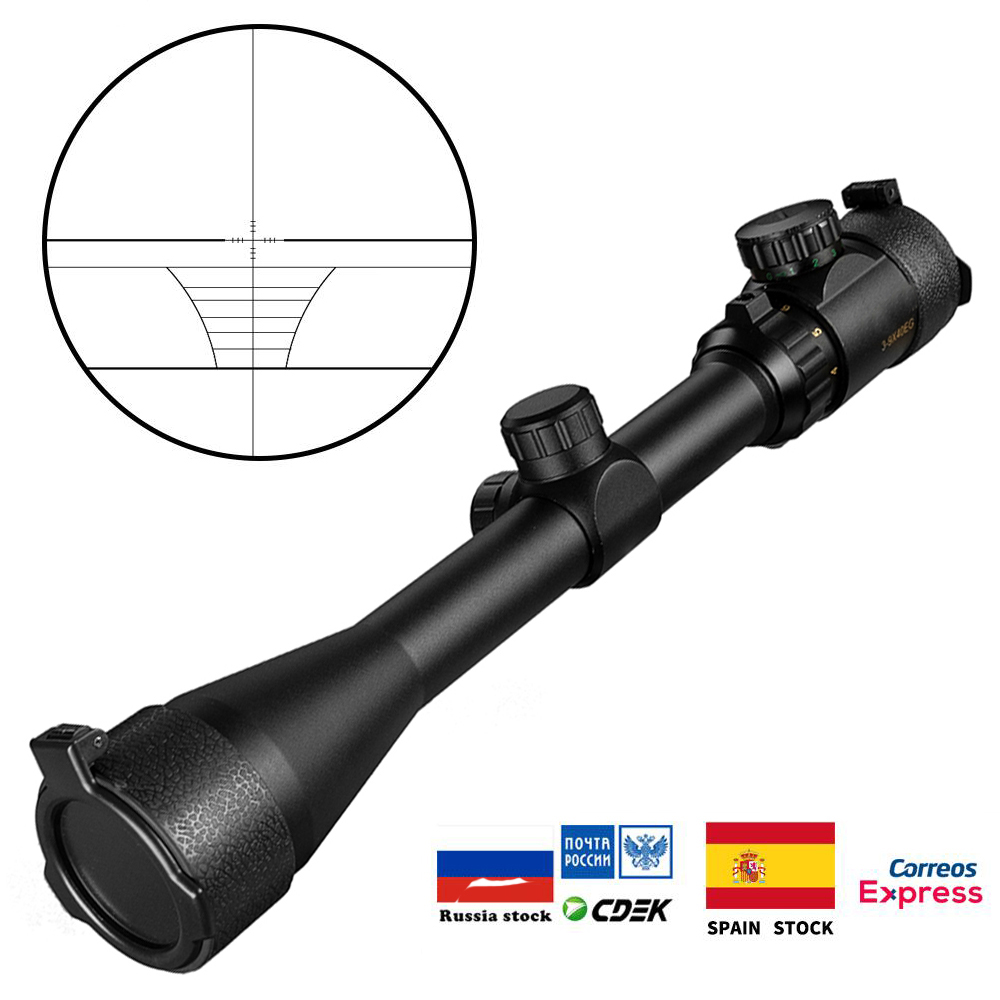 Tactical 3-9x40 EG Riflescope Ajustável Ouro Verde Red Dot Scope Caça Reticle Rifle Scope Optical Para Atirador Carabina