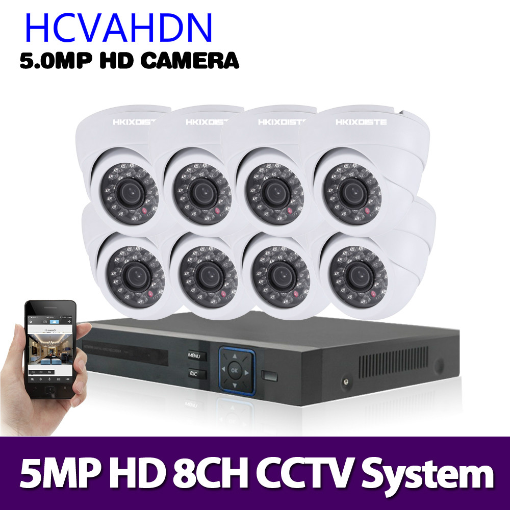 HCVAHDN 8CH 5MP Ultra HD CCTV Kamera System 5 IN 1 H.265 DVR Und 8PCS 5MP AHD indoor Weiß Home Security Surveillance System