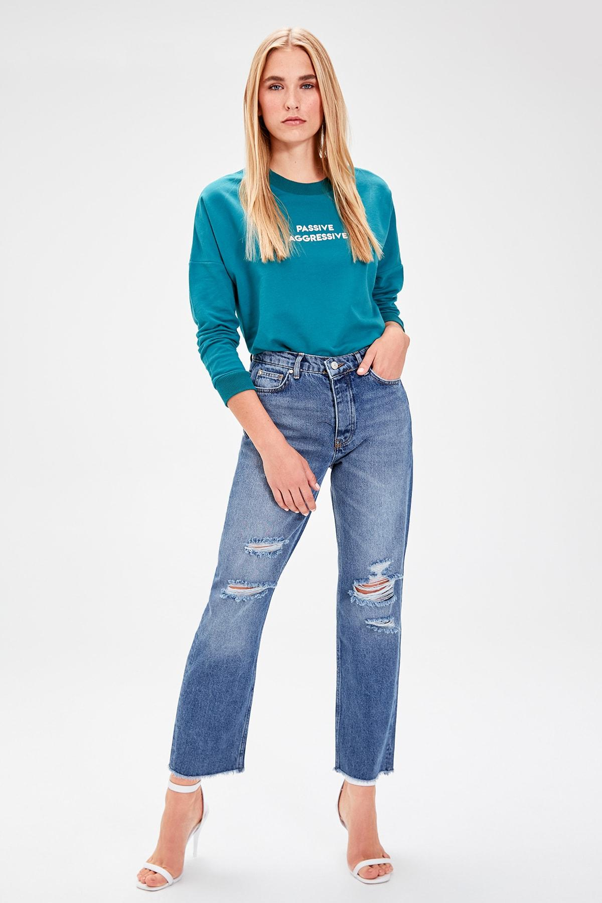 Trendyol Mavi Ripped Detailed High Bel Straight Jeans TWOAW20JE0021