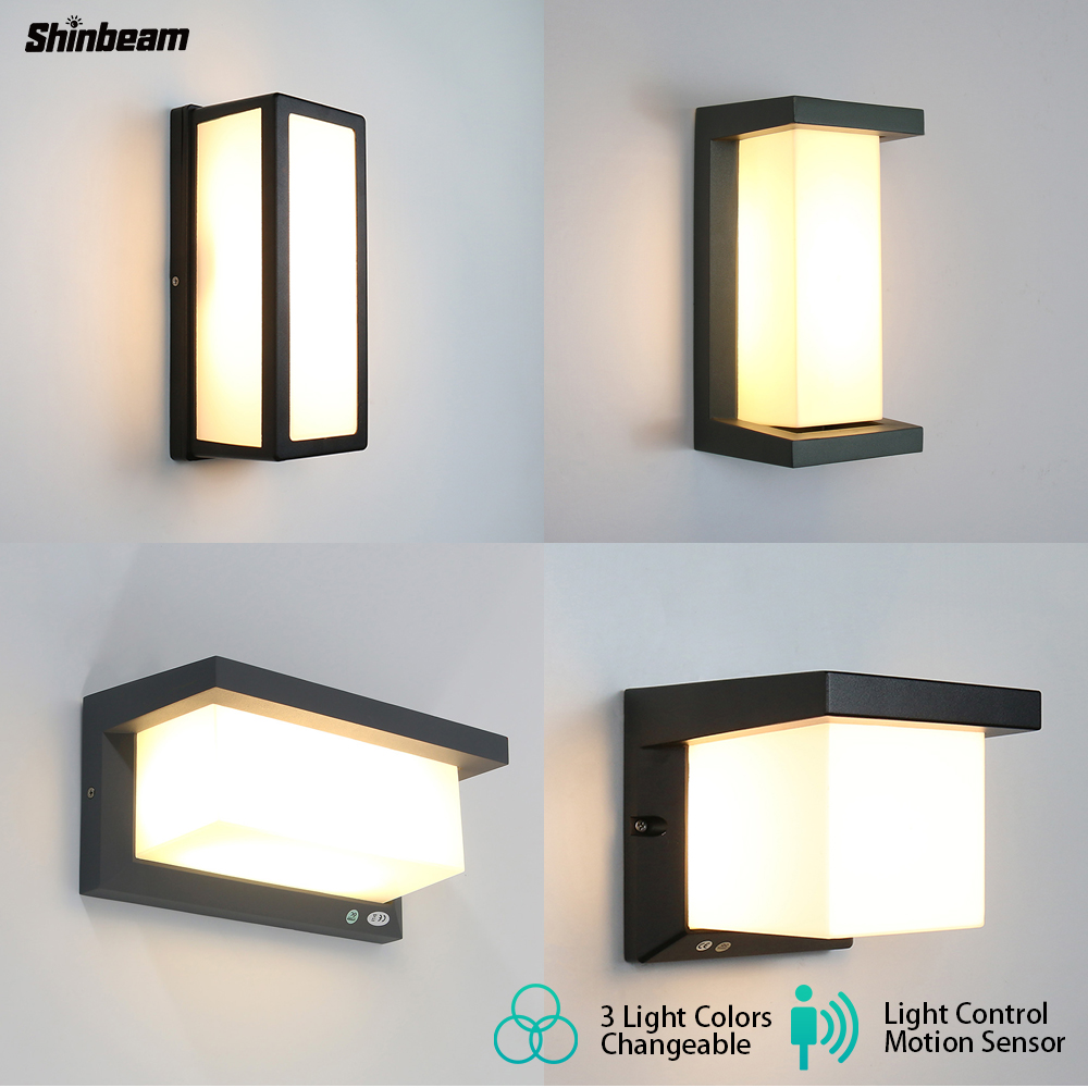 Modern Ip65 Waterproof Outdoor Wall Light Motion Sensor 3 Light Color Changeable Pir Radar Outdoor Wall Lamp Sconce Shinbeam 10W