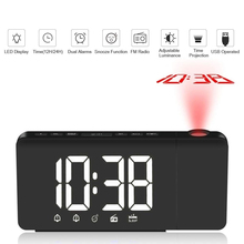 LED Time Projection Digital Alarm Clock FM Radio Snooze Function Table Clock Adjustable Lighting Desk Clocks with Time Memory