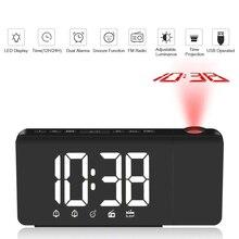 Led tempo projeção digital despertador fm rádio função snooze relógio de mesa ajustável iluminação relógios de mesa com memória do tempo