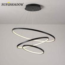 מודרני Led נברשת מעגל שחור זהב לבן LED נברשת תאורה לסלון חדר אוכל מטבח שחור ולבן זהב