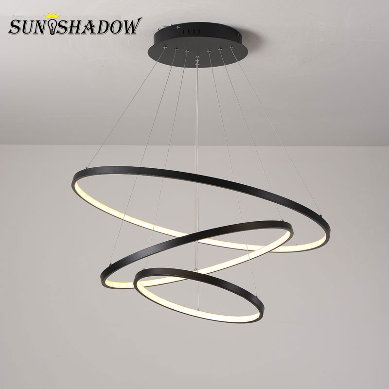 Modern Led Chandelier Circle Black Gold White LED Chandelier Lighting For Living room Dining room Kitchen Black amp White amp Gold
