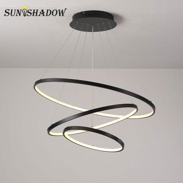 Modern Led Chandelier Circle Black Gold White LED Chandelier Lighting For Living room Dining room Kitchen Black&White&Gold
