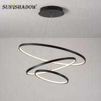 Modern Led Chandelier Circle Black Gold White LED Chandelier Lighting For Living room Dining room Kitchen Black&White&Gold