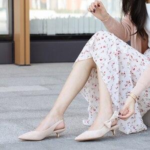 Image 2 - 2020 เซ็กซี่บางรองเท้าส้นสูงรองเท้าผู้หญิงหนัง Faux Suede หนัง Pointed Toe ปั๊มสำนักงาน Lady Butterfly Knot รองเท้าแตะผู้หญิง