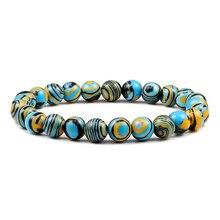 חדש כחול מלכיט טבעי אבן צמידי נשים גברים צ אקרה תפילת Mala הבודהיסטי חרוזים צמיד צמיד יוגה גדיל קסם תכשיטים