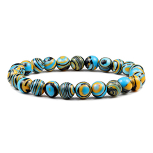 Pulseras de piedra Natural de malaquita azul para hombre y mujer, pulsera de cuentas budista, chacra, oración, Mala, Yoga