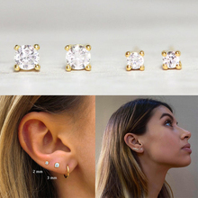 1 pair Female Crystal White Zircon Stud Earrings Simple 925 Sterling Silver Four claw Earrings For Women Vintage Earrings A30 925 silver plated crystal earrings pair