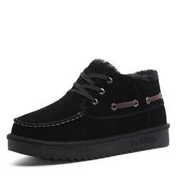 Zuzi nova austrália estilo clássico botas de neve de pelúcia homens de couro real quente tornozelo botas de inverno anti-derrapagem sapatos masculinos