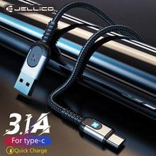 Jellico usb tipo c cabo para samsung s21 s10 3a carregamento rápido usb tipo-c carregador cabo de dados para redmi nota 8 pro USB-C cabo de cabo