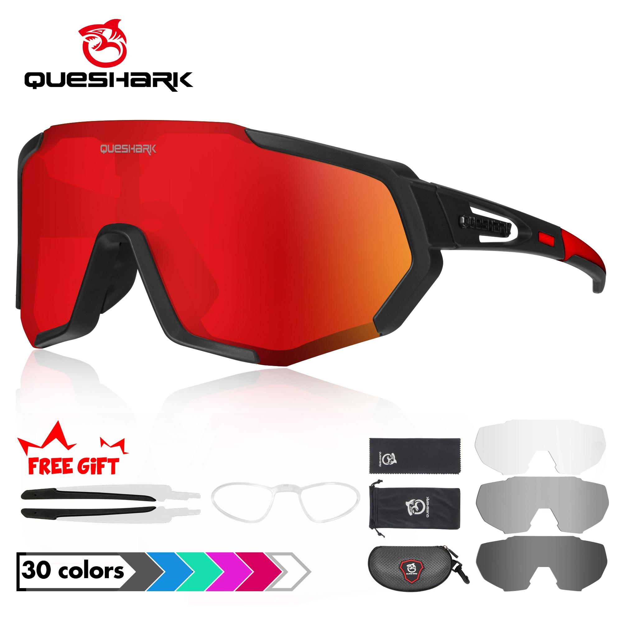 QUESHARK Polarized Cycling Glasses For Man Women Bike Eyewear Cycling Sunglasses 4 Lens UV400 Sport Glasses QE48 1