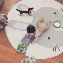 INS 120cm Baby Play Mat Cute Rabbit Round Plush Carpet Anti-proof Animal Playmat Newborn Infant Crawling blanket Kids Room Decor