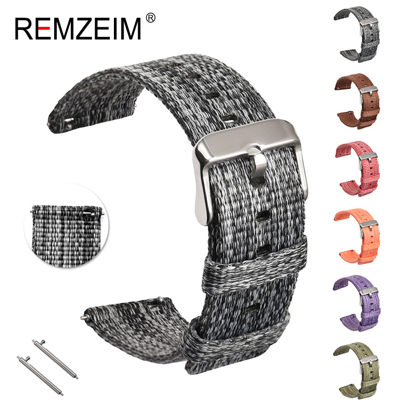 Nylon <font><b>Smart</b></font> Uhr Band Für <font><b>Samsung</b></font> Galaxy 42 46 Getriebe S3 <font><b>S2</b></font> 18 20 22 24 mm Sport Woven Leinwand strap Quick Release Straps image