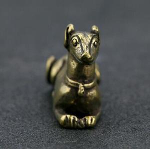Image 4 - Chinesische Reinem Messing Geschnitzt Sternzeichen Tier Hund Tee Haustier Hand Sammlung Hause Ornamente Tier Statue