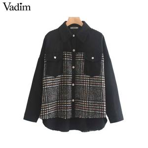 Image 1 - Vadim women stylish plaid patchwork jacket pockets long sleeve coat female casual oversized chic outwear tops mujer CA566
