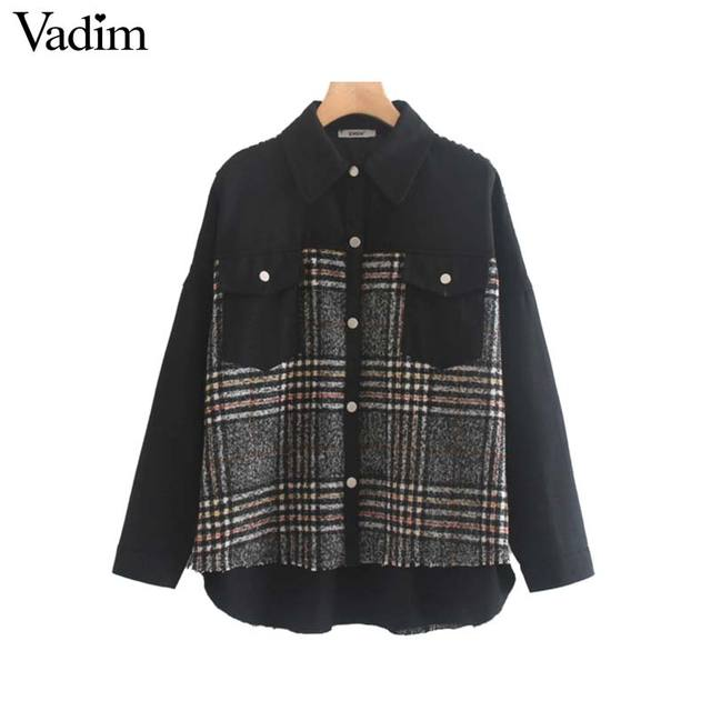 Vadim women stylish plaid patchwork jacket pockets long sleeve coat female casual oversized chic outwear tops mujer CA566
