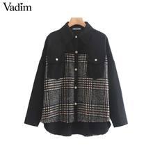 Vadim נשים אופנתי משובץ טלאים כיסי מעיל ארוך שרוול מעיל נשי מזדמן גדול שיק להאריך ימים יותר חולצות mujer CA566