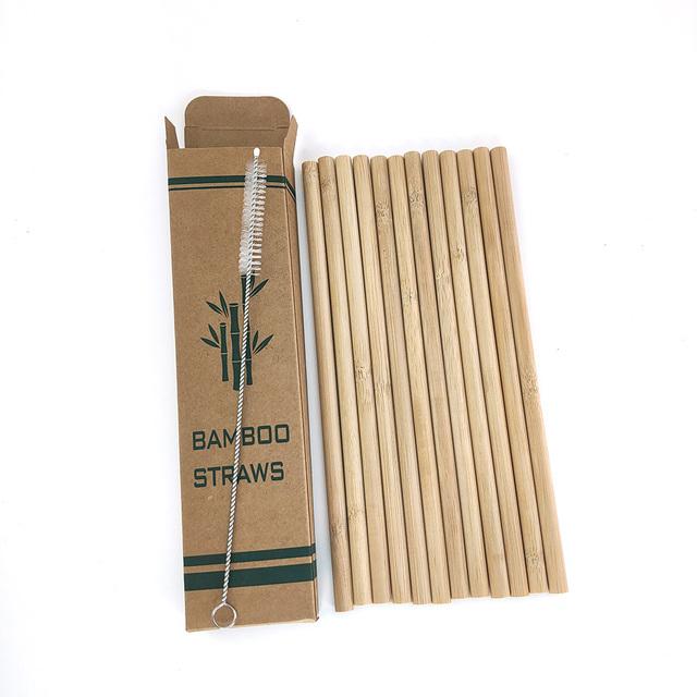 12pcs/set Bamboo Reusable Drinking Straws