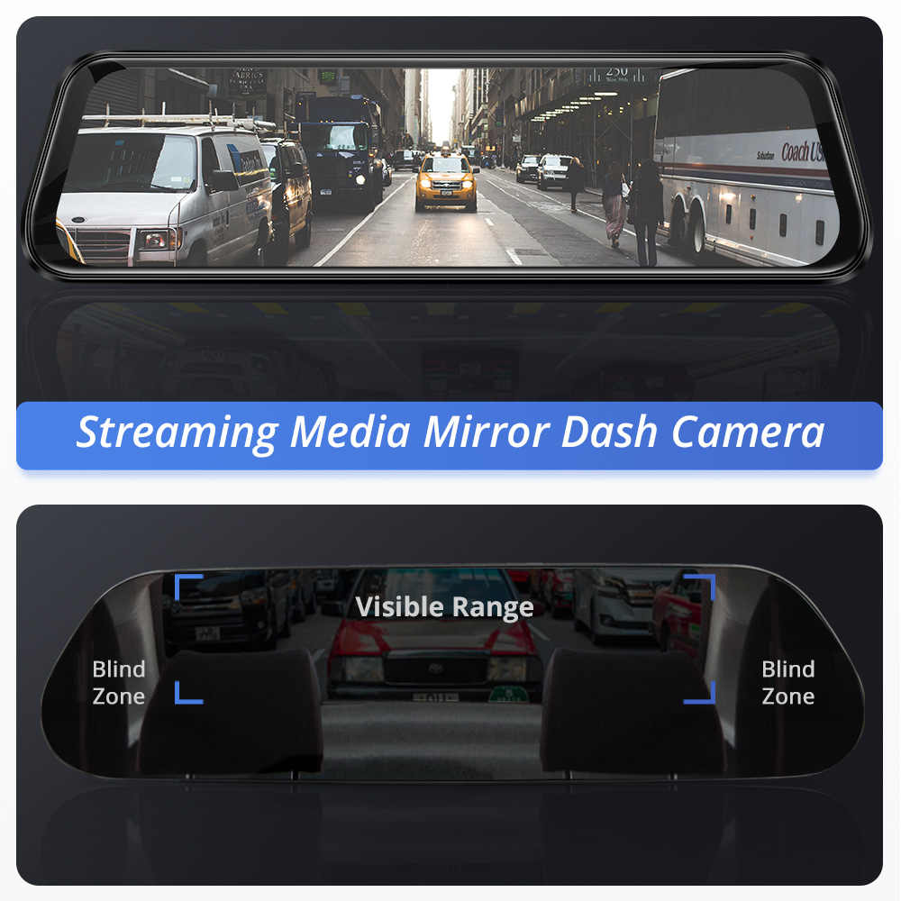 AZDOME 10 סנטימטרים PG12 מגע מסך 1080P רכב DVR הזרמת מדיה דאש מצלמת כפולה עדשת ראיית לילה Rearview מראה תמיכה GPS