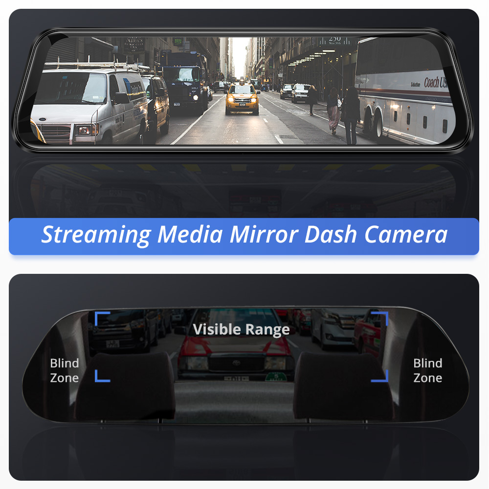 AZDOME PG12 Touch Full Screen 10 Mirror Dash Cam Streaming Media Dual Lens Night Vision 1080P