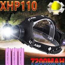 1000000lm xhp110 recarregável usb farol 7800mah mais poderoso farol caça lanterna zoom powerbank uso da lâmpada de pesca 18650