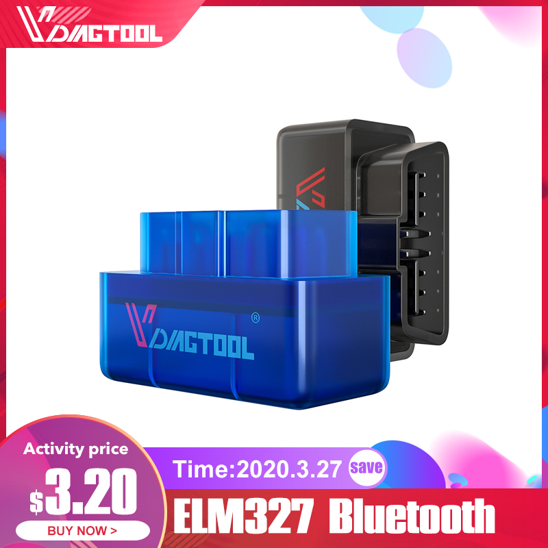 VDIAGTOOL ELM 327 <font><b>OBD2</b></font> Car Diagnostic Scanner Tool <font><b>ELM327</b></font> <font><b>V1.5</b></font> Bluetooth <font><b>Wifi</b></font> Interface OBDII For Android IOS Code Reader image