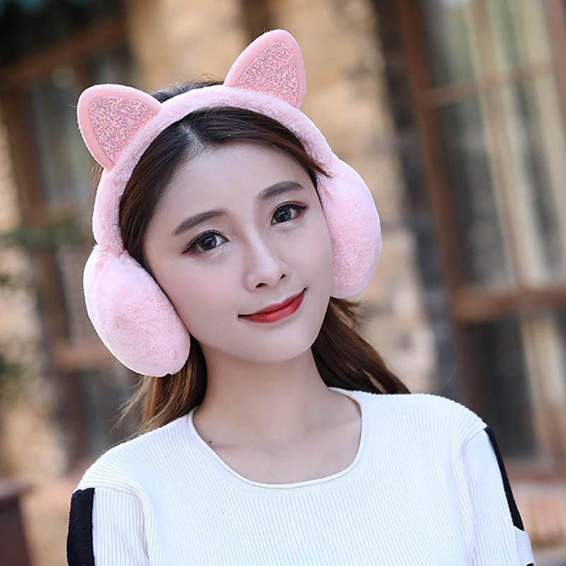 Calymel Fashion Women Fur Winter Ear Warmer Earmuffs Cat Ear Muffs Earlap Glitter Sequin Sequin Cats Ears