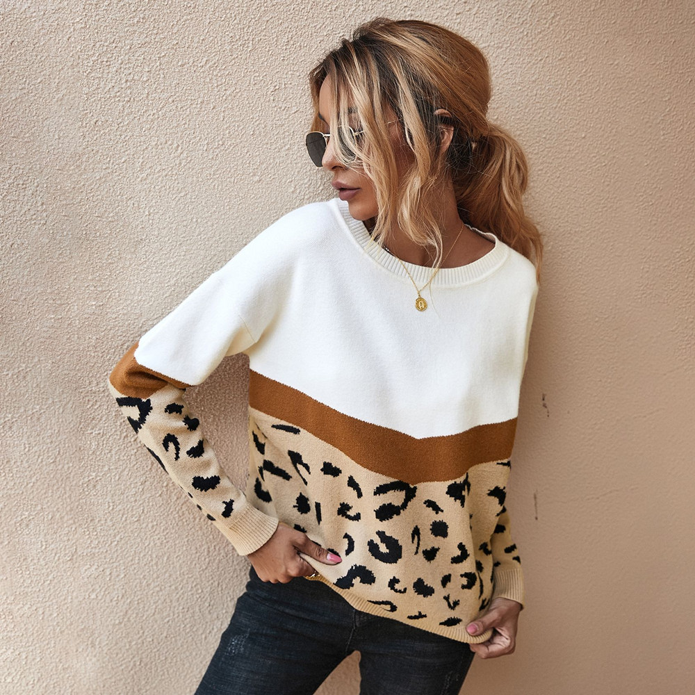Fashion Leopard Patchwork Autumn Winter 2021 Ladies Knitted Sweater Women O neck Full Sleeve Jumper Pullovers Top Khaki Brown