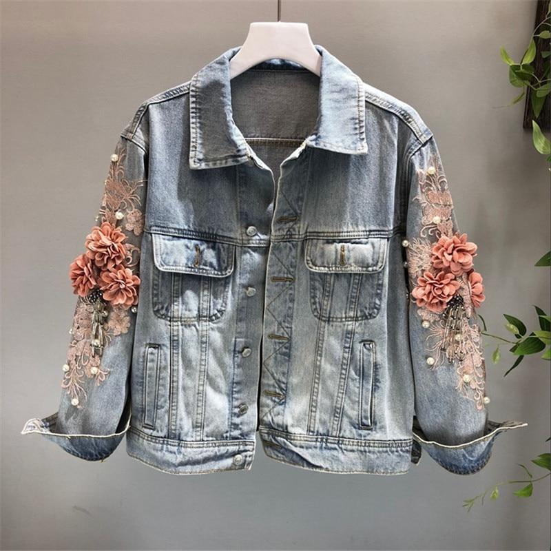 2021 Autumn Women Embroidered Three-dimensional Flower Short Wash Long-sleeve Denim Jacket Light Blue Female Jeans Jacket M131