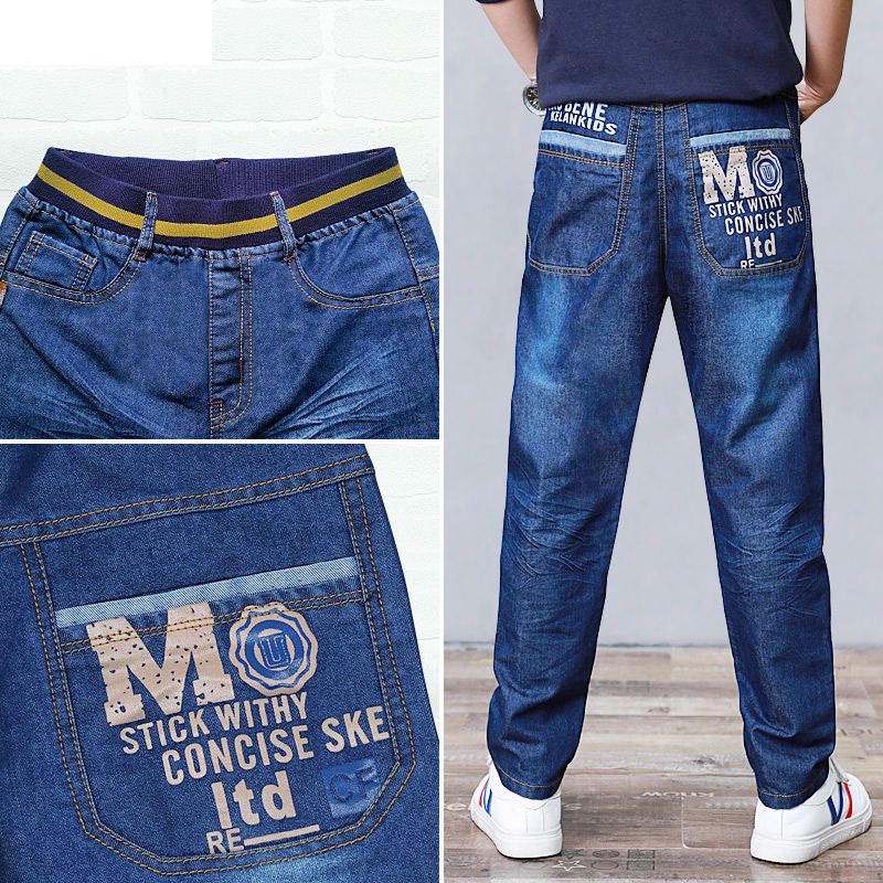 Big Boys Loose Jeans Trousers Letter Print Denim Clothes for Teen Cotton Blue Pant Teenage Boy Casual Elastic Waist Trousers 14Y