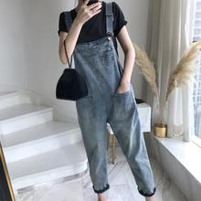 Casual Women Pockets Loose Suspender Denim Overall Dungarees Ninth Trousers
