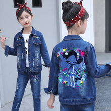 3-14 Years Old Embroidery Cartoon Girls Outfits Denim Spring Girl Clothes Jacket for Girls girls dog embroidery jacket