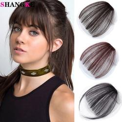SHANGKE Women Hair Bangs Human Hair Clip In Hair Extensions Bangs Natural Black Brown Bangs Hair