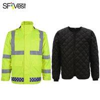 SFVest High Visibility Reflective Waterproof Rain Removable Warm Jacket Rainwear Coat